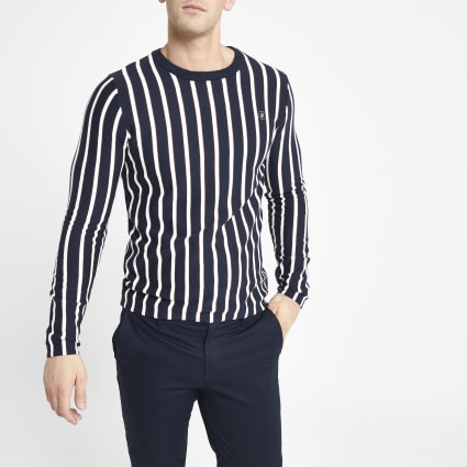 Jack and Jones white stripe knitted jumper