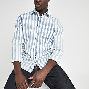Jack & Jones - Blauw gestreept overhemd met lange mouwen