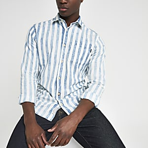 Jack and Jones - Blauw gestreept slim-fit overhemd