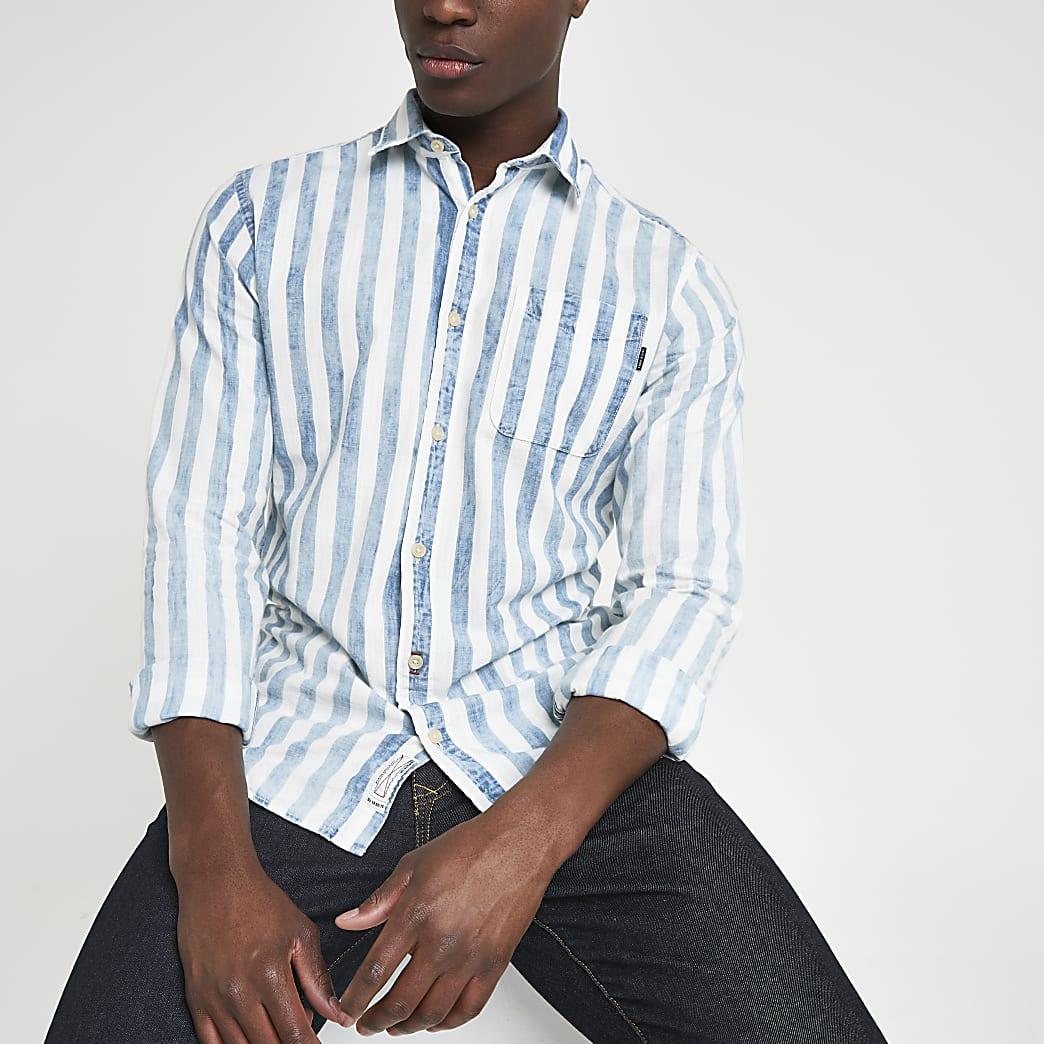 Jack & Jones – Blaues, gestreiftes Slim Fit Hemd
