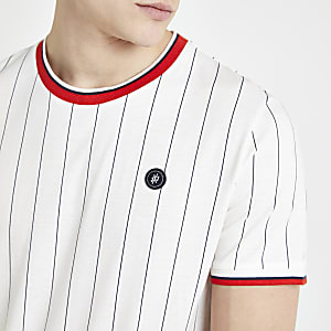 Jack and Jones – T-shirt blanc à rayures fines