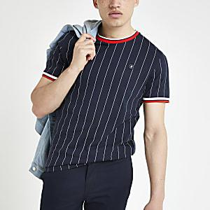 Jack & Jones – Marineblaues T-Shirt mit Nadelstreifen