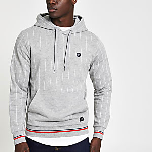 Jack & Jones – Sweat à rayures fines gris à capuche