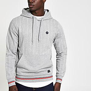 Jack and Jones - Grijze gestreepte hoodie met krijtstreep