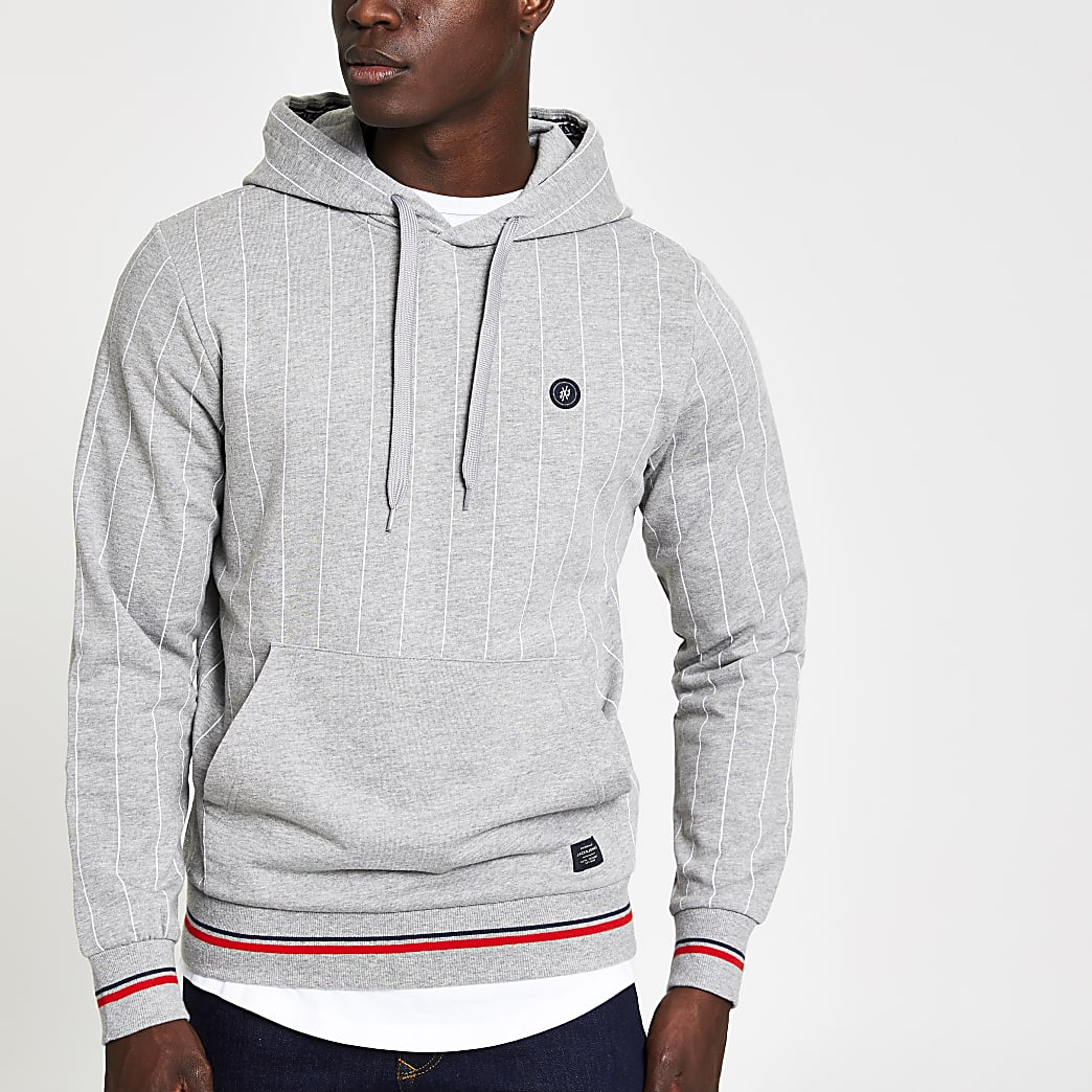 Jack and Jones grey pinstripe hoodie