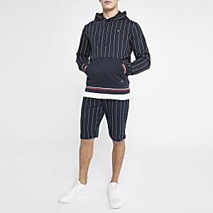 Jack & Jones navy pinstripe hoodie