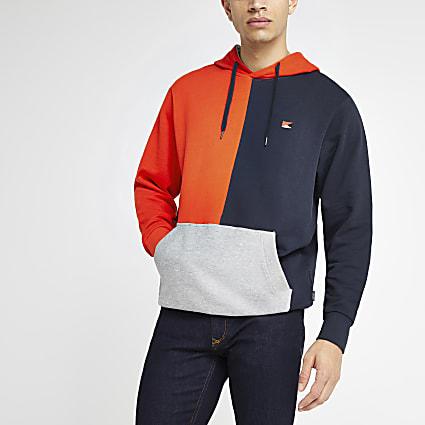 Jack & Jones red colour block hoodie