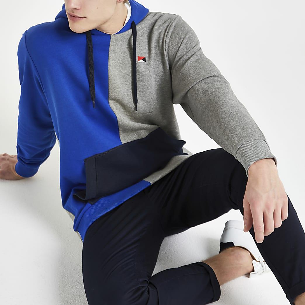 Jack & Jones – Sweat à capuche colour block bleu