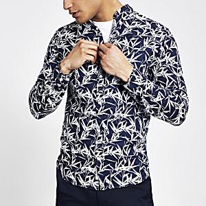 Jack and Jones navy leaf print long shirt