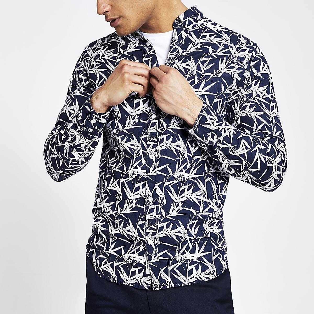 Jack and Jones navy leaf print slim fit shirt