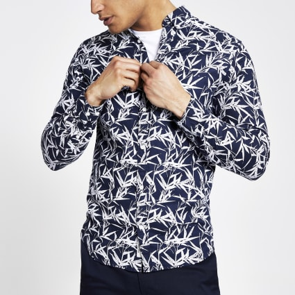 Jack and Jones navy leaf print slim fit shirt