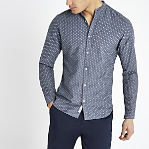 Jack and Jones navy printed slim fit shirt