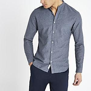 Jack and Jones - Marineblauw slim-fit overhemd met print
