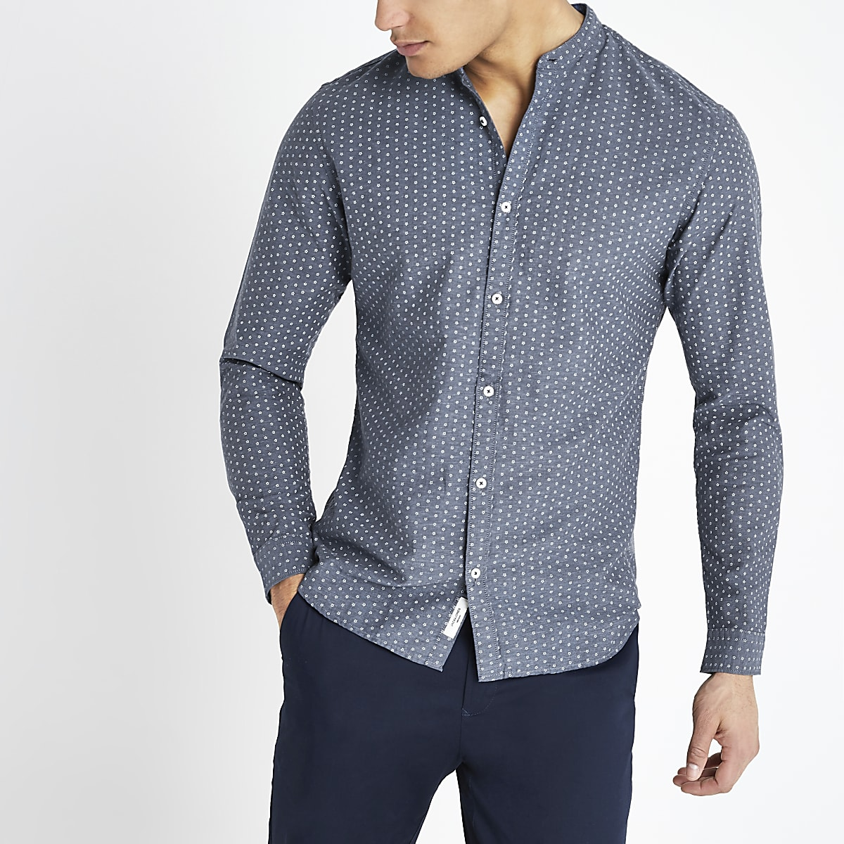 Jack and Jones navy printed slim fit shirt