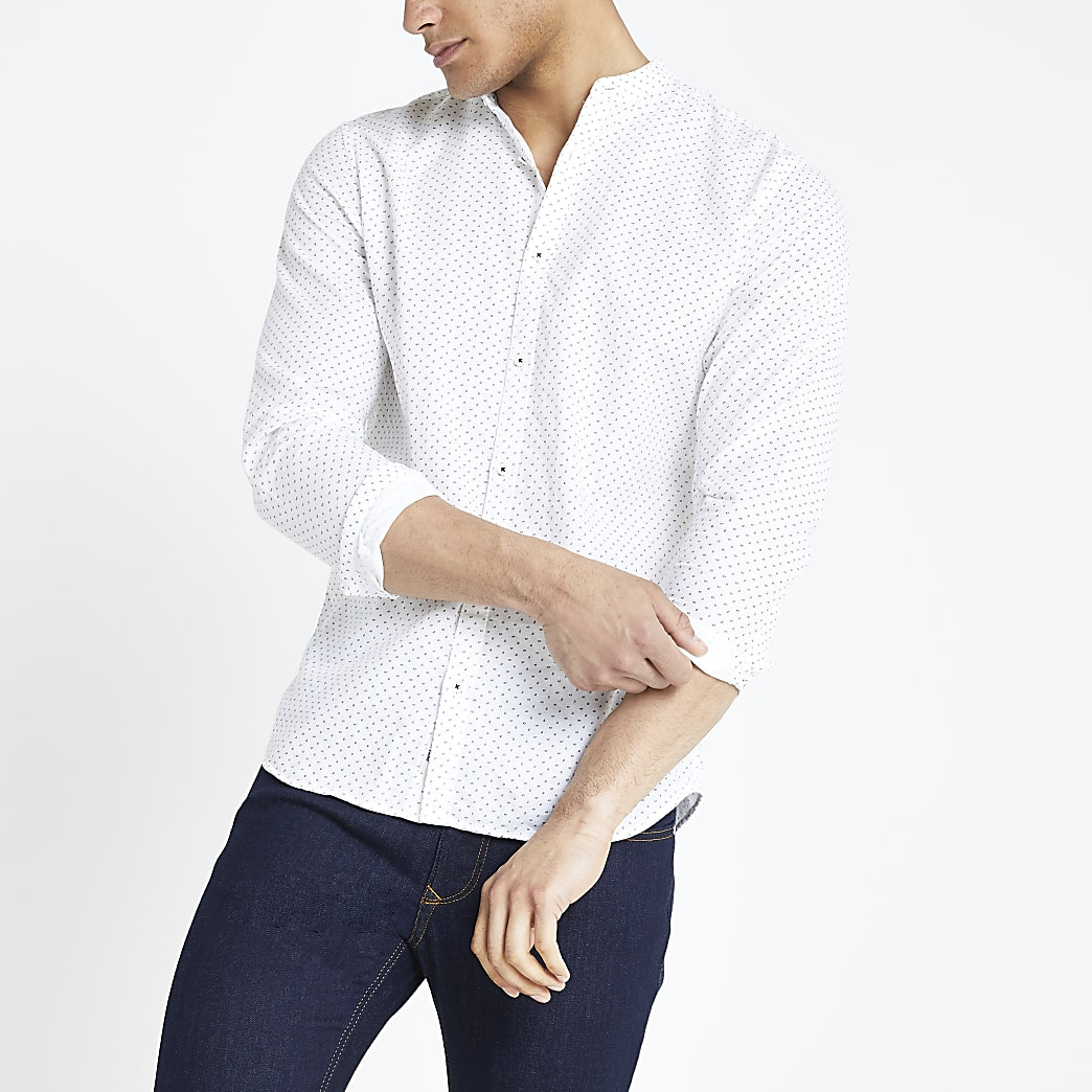 Jack & Jones – Weißes Slim Fit Hemd mit Print