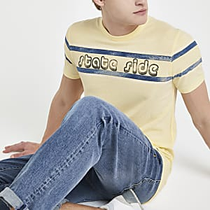 "Jack & Jones – Gelbes T-Shirt ""State side"""
