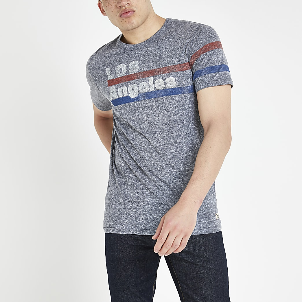 Jack and Jones grey 'Los Angeles' T-shirt