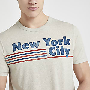 Jack and Jones – T-shirt « New York City » grège