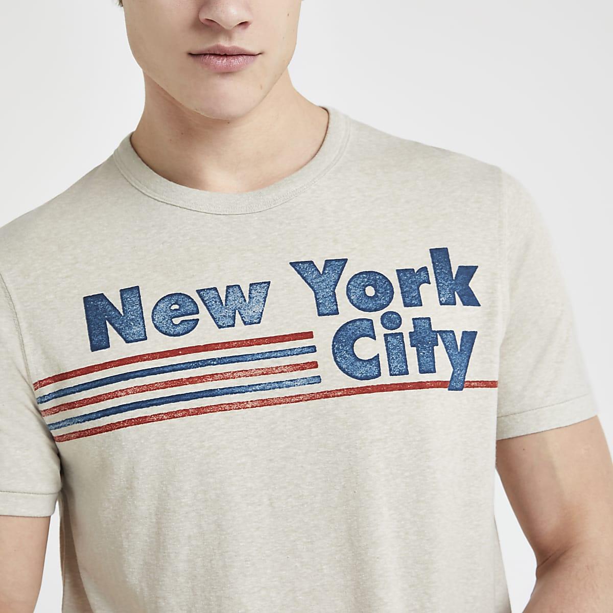 Jack and Jones stone 'New York City' T-shirt