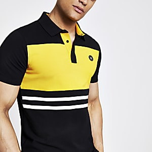 Jack and Jones black colour block polo shirt