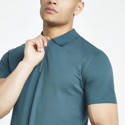 Jack and Jones blue zip polo shirt