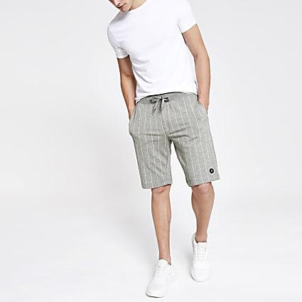 Jack and Jones grey pinstripe jersey shorts