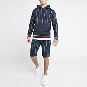 Jack & Jones – Marineblaue Jersey-Shorts mit Nadelstreifen