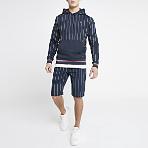Jack and Jones navy pinstripe jersey shorts