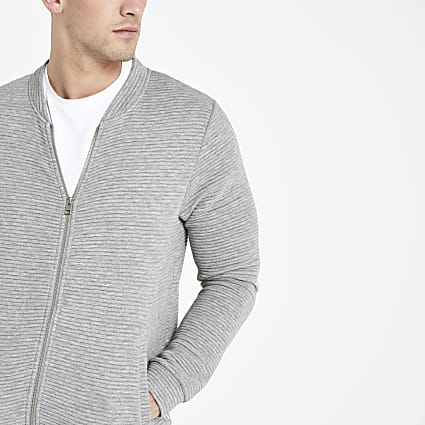 Jack and Jones grey ribbed bomber jacket