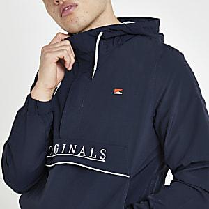 Jack and Jones blue hooded anorak jacket