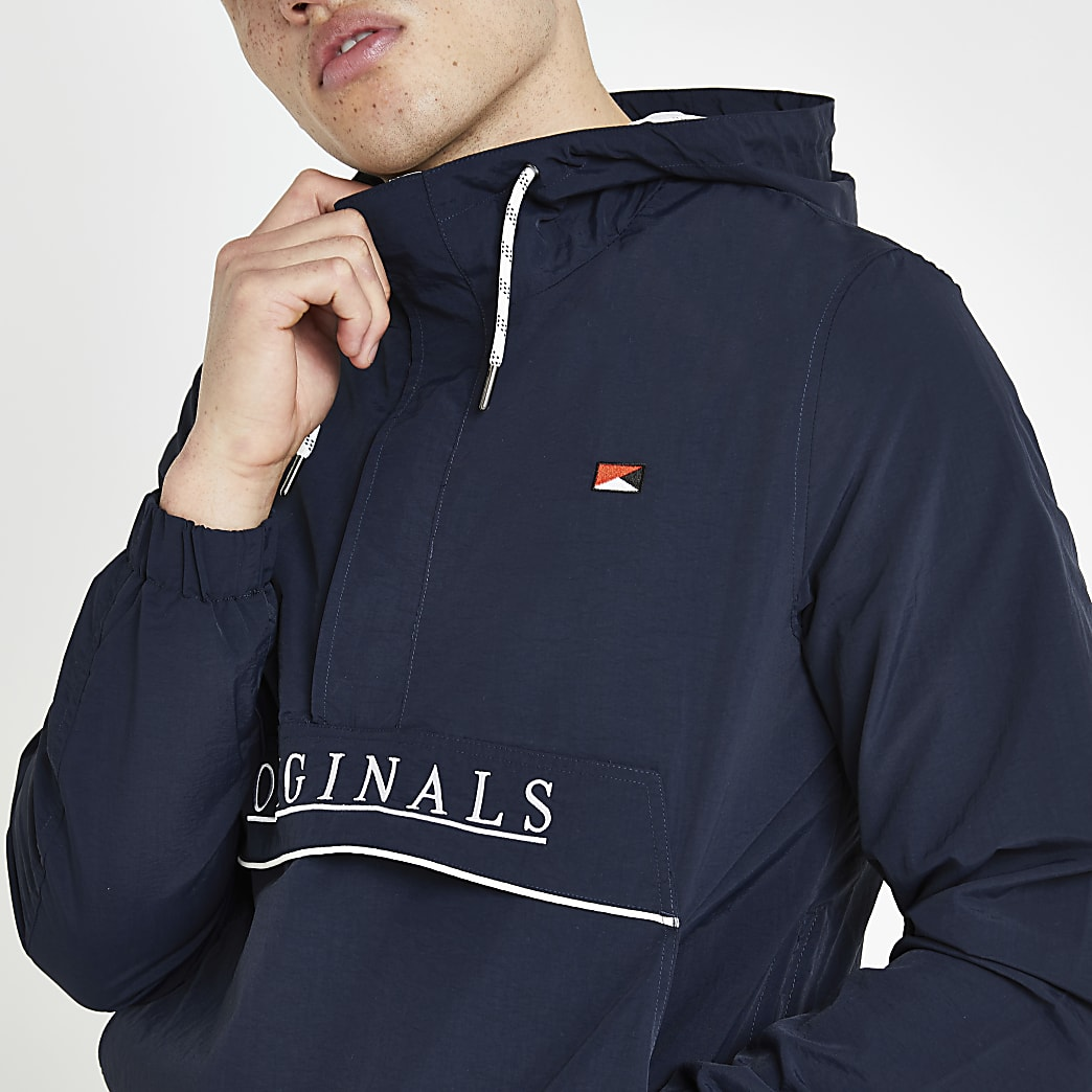 Jack and Jones - Blauw windjack met capuchon