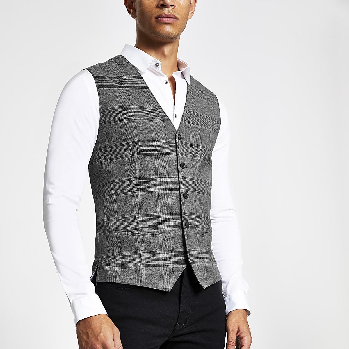 Jack and Jones grey check vest