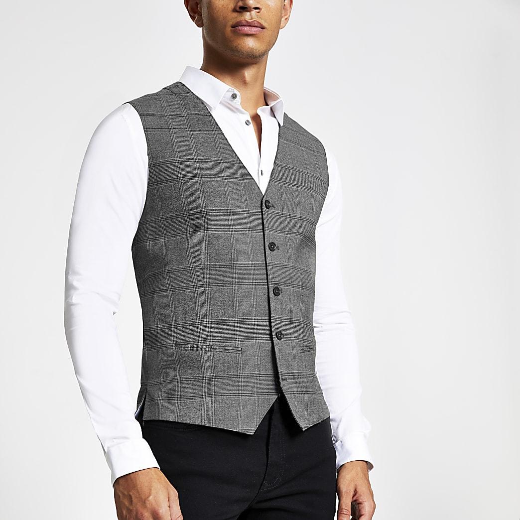 Jack and Jones grey check waistcoat