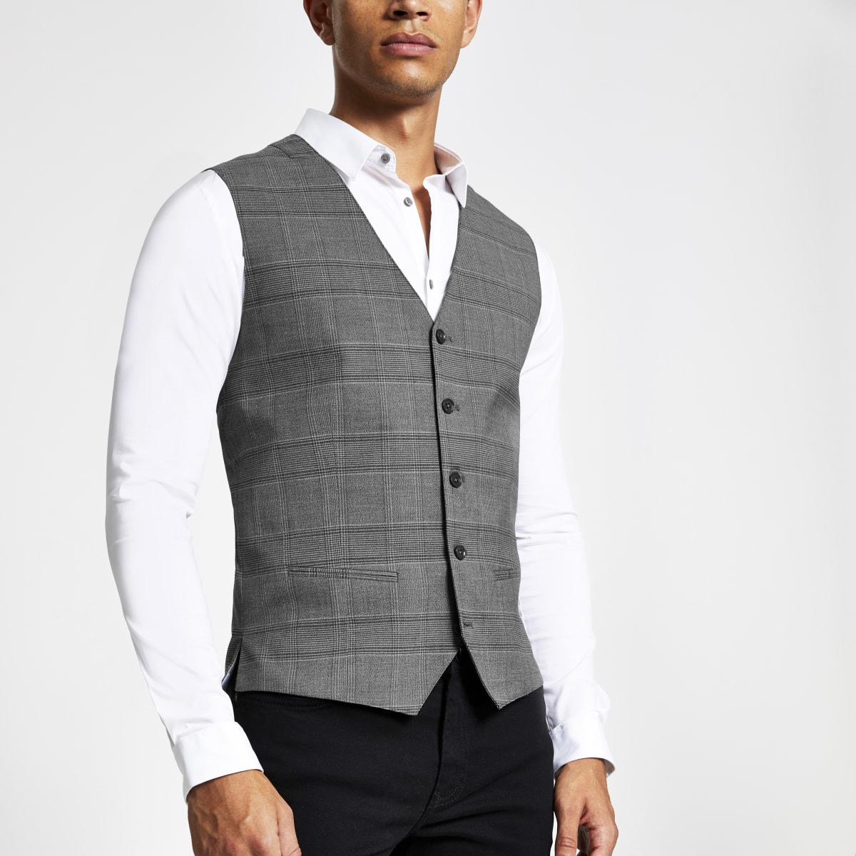 Jack and Jones grey check waistcoat