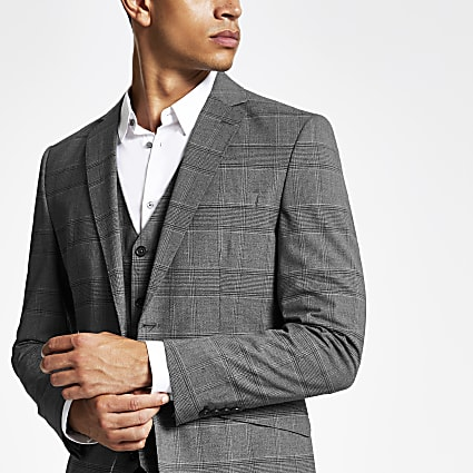 Jack and Jones grey check suit jacket