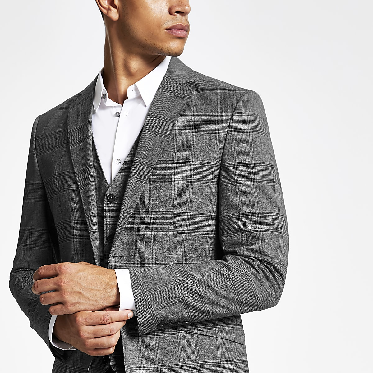 Jack and Jones – Veste de costume à carreaux grise