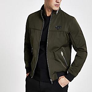 Dunkelgrüne Racer-Jacke mit Reißverschluss vorne
