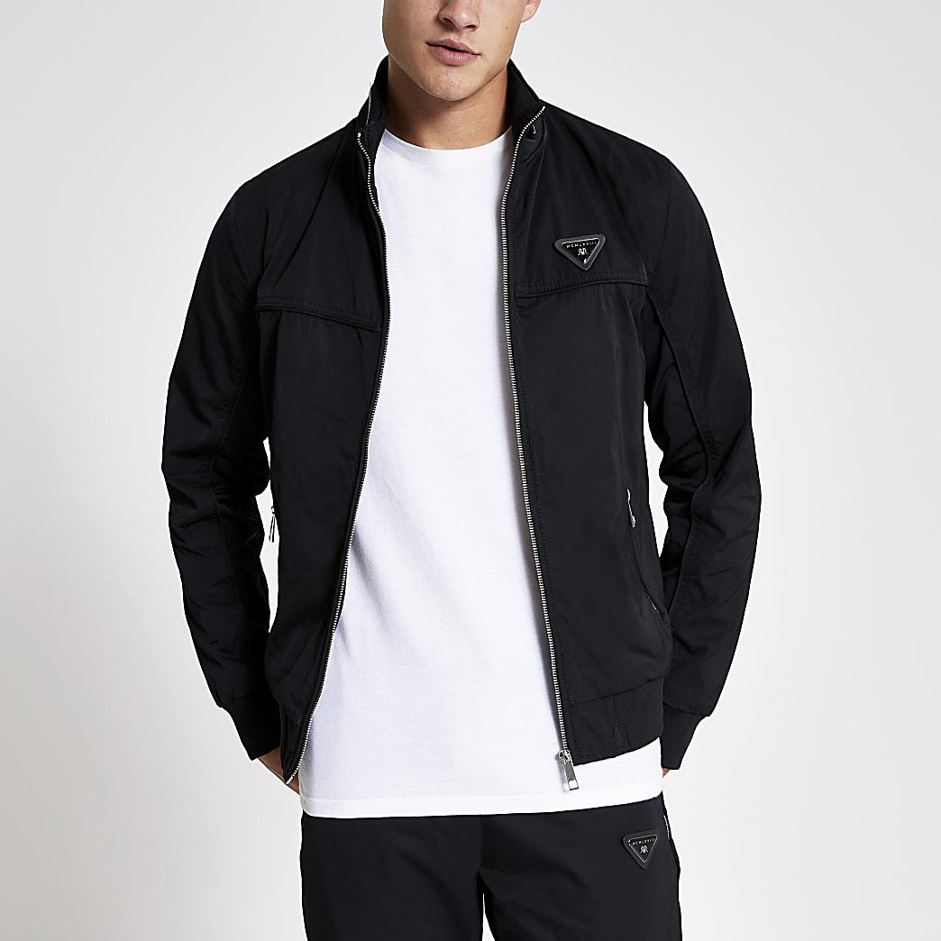 Veste en cuir noire zippée à l'avant MCMLX