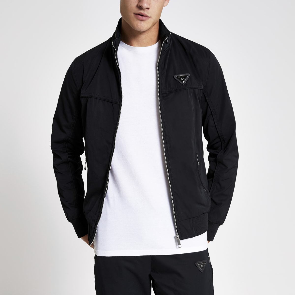 Black MCMLX zip front racer jacket