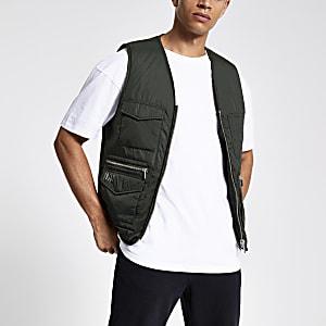 Khaki zip front utility vest