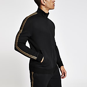 Black tape slim fit track top