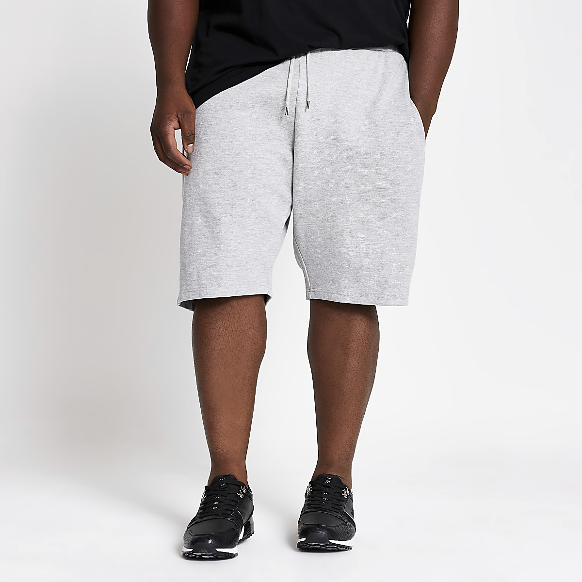 Big & Tall – Graue Slim Fit Piqué-Shorts