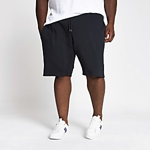 Big and Tall - Marineblauwe slim-fit short van piqué-stof