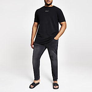 Big and Tall - Zwart slim-fit T-shirt