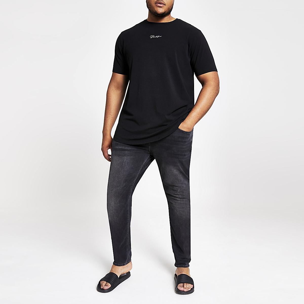 Big and Tall - Zwart slim-fit T-shirt met 'Prolific'-print