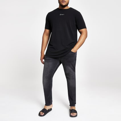 Big and Tall black Prolific slim fit T-shirt