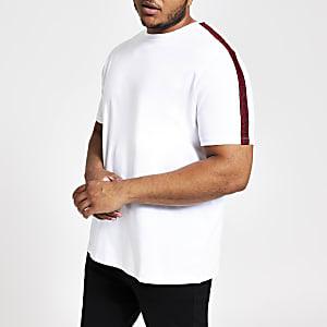 Big and Tall – T-shirt slim blanc à bandes contrastantes