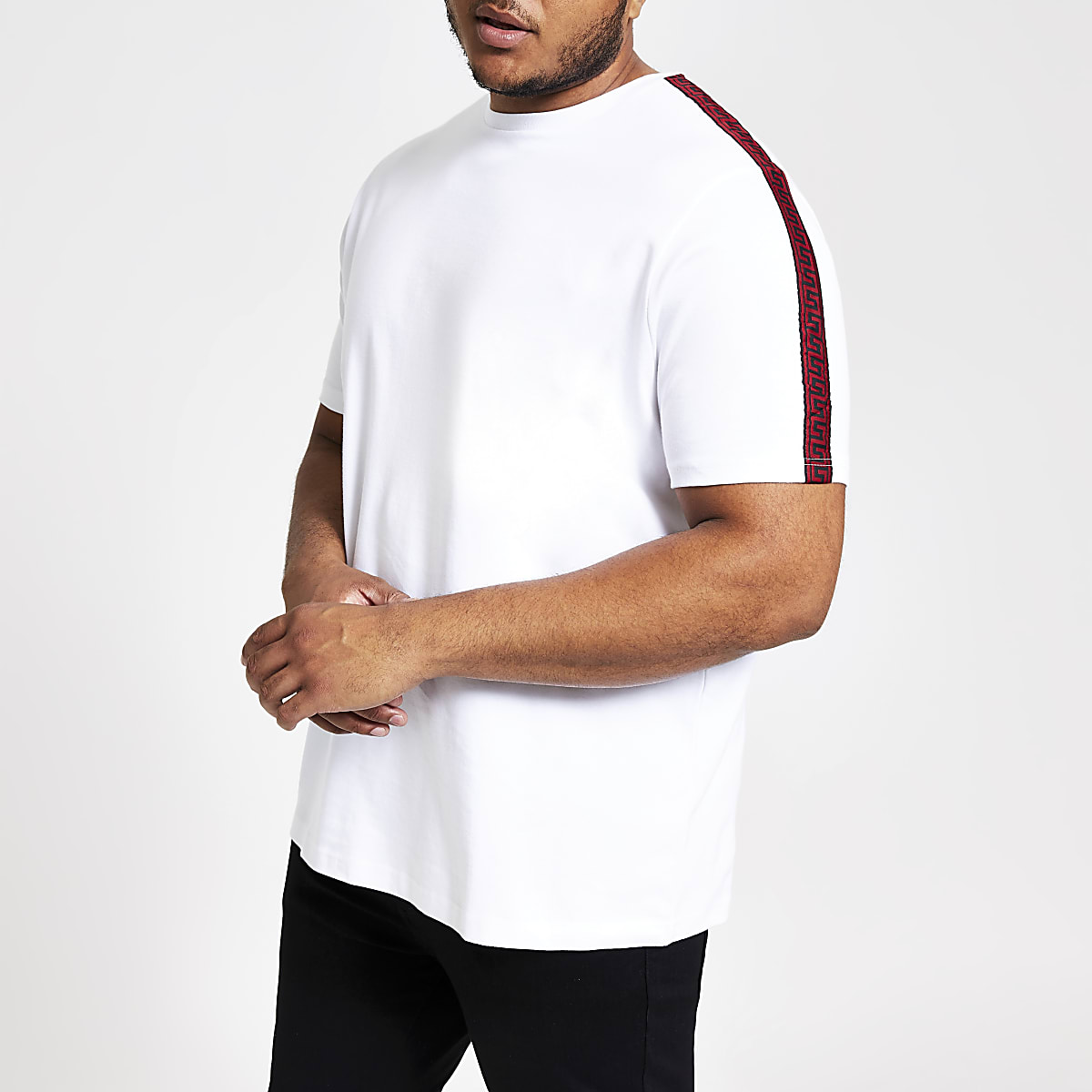 Big and Tall – T-shirt slim blanc à bandes contrastantes