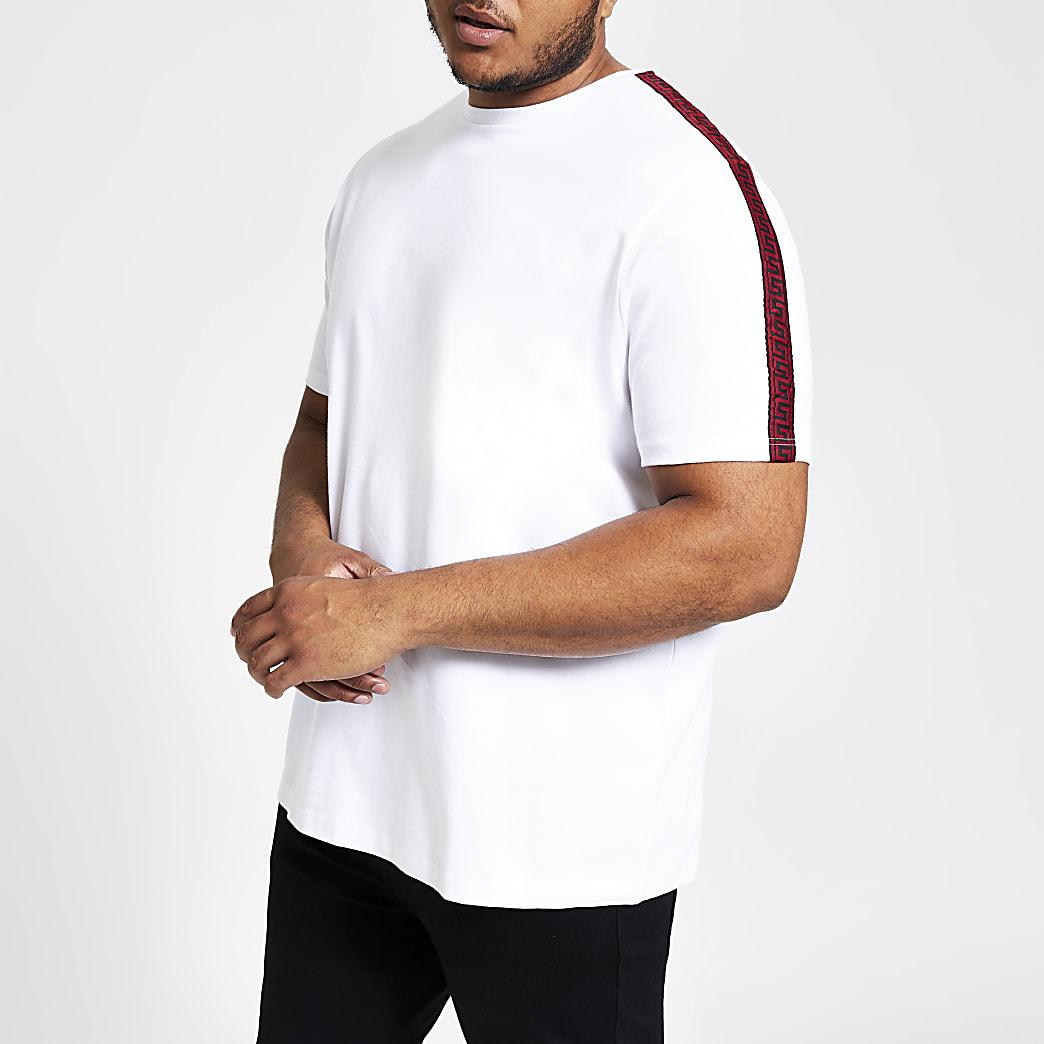 Big and Tall - Wit slim-fit overhemd met bies