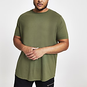 Big & Tall - Groen slim-fit T-shirt met ronde zoom